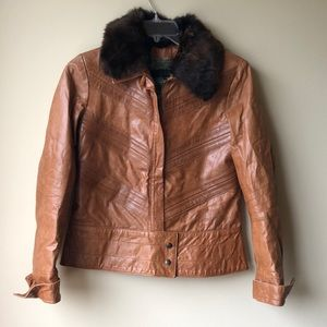 Cavalli Tan Leather Fur Trimmed Jacket